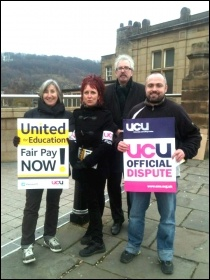 UCU members at Leeds City College striking on 3 December 2013