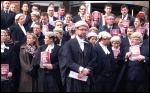 Lawyers and barristers outside Leeds combined courts on Monday 6th January , photo Tanis Belsham-Wray
