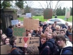 Students at Marling school, Stroud, show visiting Gove their anger, January 2014, photo C Moore