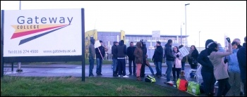 16 January 2014 NUT strike, Gateway sixth form college in Leicester , photo S Score