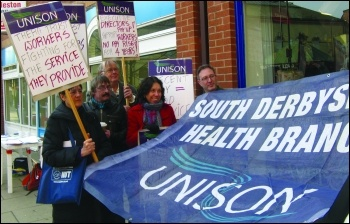 Thera Trust strike: Standing up for care workers in Derbyshire, photo East Midlands SP