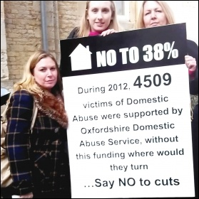 Women hit by Oxfordshire's housing support cuts lobby the Tory council, January 2014