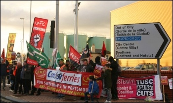 RMT eemonstration in Portsmouth on 18.2.14 to support striking deck-crew in St Malo