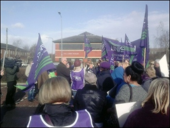 Protest picket outside Care UK's Doncaster office, 27.2.14, photo by A Tice