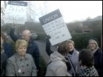 Protest picket outside Care UK's Doncaster office , photo A Tice