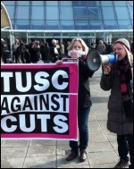 TUSC candidate Lois Austin speaking outside the Labour Party special conference, 1.3.14
