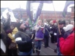 Doncaster Care UK workers striking in March 2014, photo A Tice