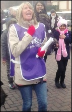 Striking Doncaster Care UK workers on the march, 2014, photo A Tice