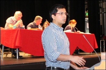 Ramon, a socialist from Mexico, speaking at the congress, photo by Senan