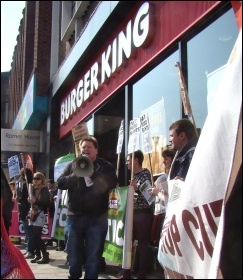 Protesting against zero-hour contracts in Lewisham
