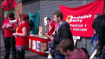YFJ protest against zero-hour contracts at Sports Direct in Shirebrook