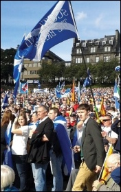 Rallying for a yes vote in Edinburgh as thousands march for an independent Scotland in 2012, photo Matt Dobson