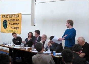TUSC candidate Matt Kilsby speaking at anti-Fracking hustings, May 2014, photo by P Gerrard