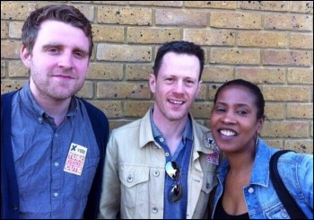 James Kerr, Chris Flood and Cheryl McLeod, TUSC candidates for Telegraph Hill in Lewisham