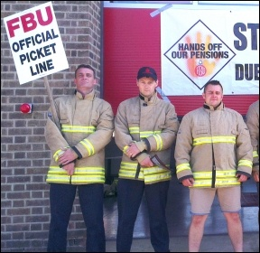 Striking FBU members in Leicester, photo S Score