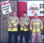 Striking FBU members, Leicester, 12.6.14, photo S Score