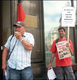 Socialist Party members protest outside the London Brazilian embassy in support of striking Metro workers