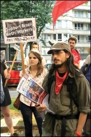 CWI members protest outside the Brazilian embassy in Belgium in support of striking Metro workers, June 2014