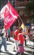 LSR (CWI in Brazil) members march in solidarity with striking Metro transport workers