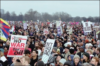 Part of the massive demo against war in Iraq, 15 February 2003, photo Molly Cooper