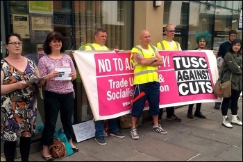 Tyneside Safety Glass strikers join a Unite Comunite protest agianst benefit sanctions, photo Elaine Brunskill