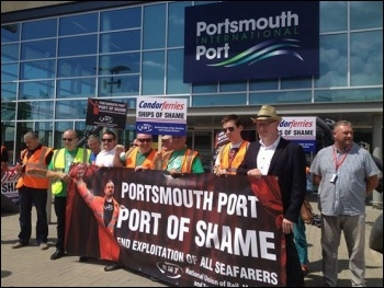 Protest against Condor Ferries, Portsmouth, July 2014, photo by Nick Chaffey