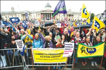 At the Trafalgar Square rally on the 10 July 2014 public sector pay strike, photo Paul Mattsson