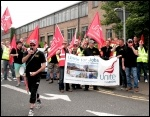 Tyneside Safety Glass workers celebrate pay dispute victory, July 2014, photo Elaine Brunskill
