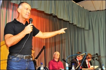 Tommy Sheridan speaks at a Hope Over Fear meeting, 2014