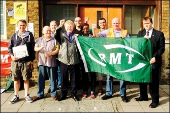 Picketing Sodexo's London Ungerground catering office at Baker Street to demand the reinstatement of RMT union rep Petrit Mihaj, third from right , photo by RMT