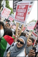 Demonstrating against the Israeli state seige of Gaza in July 2014, photo Paul Mattsson