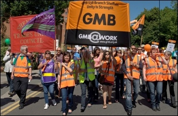 Striking workers march in Sheffield, 10 July 2014, photo Karl Lang