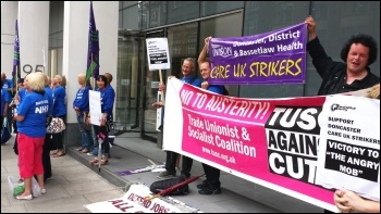 Doncaster Care UK workers lobby Bridgepoint private equity offices in London, Friday 8 August 2014