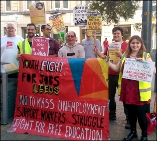 Fast Food Rights campaigners in Leeds on 28 August 2014, photo by Erika Sykes