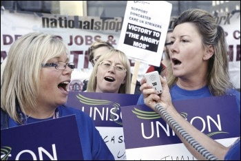 Doncaster Care UK workers protesting outside Care UK owners Bridgepoint private equity, photo Paul Mattsson