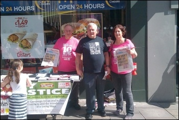 The 'pink t-shirt' lady campaigning with the BFAWU outside McDonald's