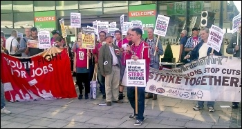 NSSN supporters lobbying the TUC in September 2014, photo Bob Severn