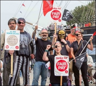 Greenwich Unite members protesting at the council's