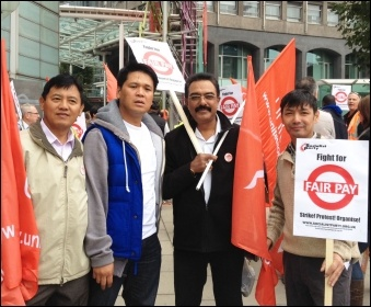 London bus drivers' pay campaign: Assembling for the demo, 11.9.14, photo Judy Beishon