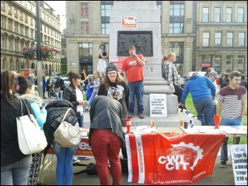 Scotland Referendum, Socialist Party Scotland stall, photo SP Scotland