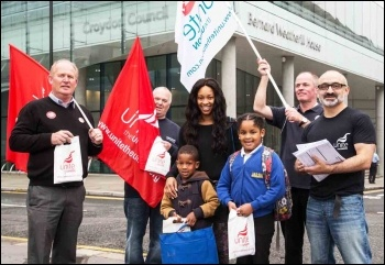 Striking Croydon leisure centre workers share solidarity with council workers and the public