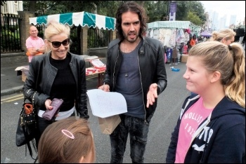 Russel Brand is actively supporting the campaign to defend New Era estate tenants, photo Paul Mattsson