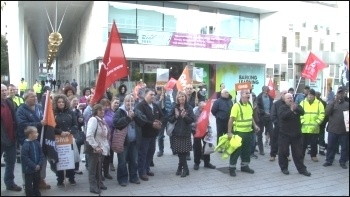 Protest outside Barking town hall in Margaret Hodge's constituency, photo P Mason