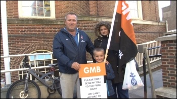 Protest outside Barking town hall on Tuesday 7 October, photo by P Mason