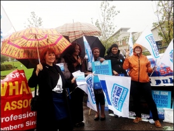 Members of RCM outside Newham hospital, East London, photo Helen Pattison