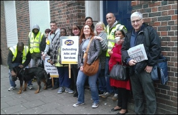 PCS strike, East Ham Jobcentre, London, 15.10.14, photo by Bob Severn