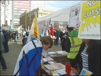 One of the Generation Fightback stalls at the Hope Over Fear rally, photo GF