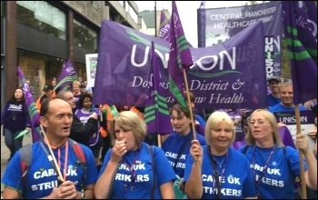 Care UK  strikers on TUC demo, 18.10.14, photo by A Tice