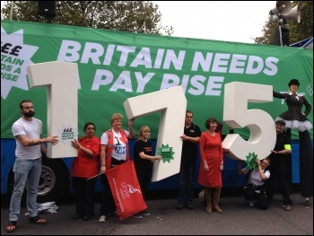 Top directors earn 175 times more than the average worker. TUC 'Britain needs a pay rise' demo, photo by JB