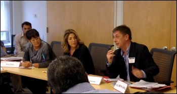 Chris Baugh speaking in New York City with Naomi Klein (middle), September 2014